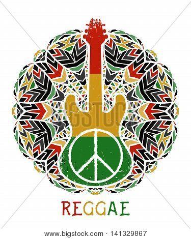 Peace symbol and guitar on ornate mandala background. Jamaica theme. Design concept in reggae colors for banner, card, t-shirt, bag, print, poster. Vector illustration