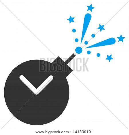Time Fireworks Charge vector icon. Style is bicolor flat symbol, blue and gray colors, rounded angles, white background.