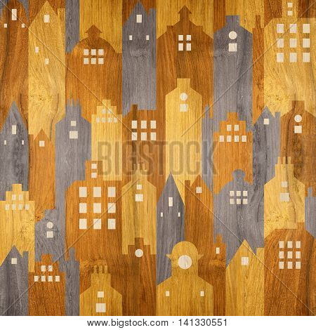 Abstract city buildings - seamless background - wood texture