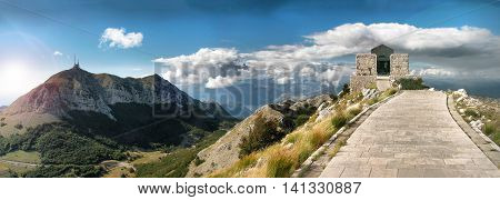 Mausoleum Petar II National park Lovcen Montenegrin the beautiful mountains landscape tourist attraction