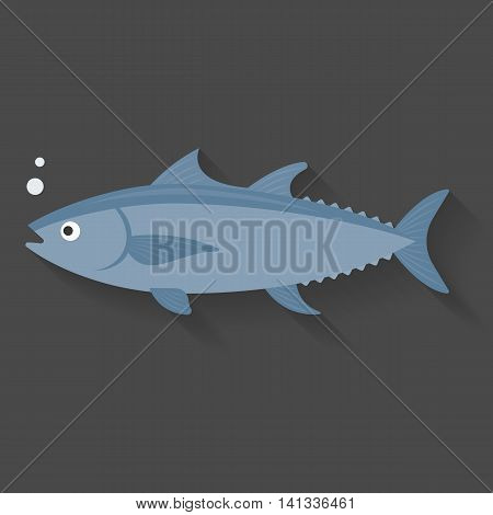 Vector tuna, flat design with shadow on black background