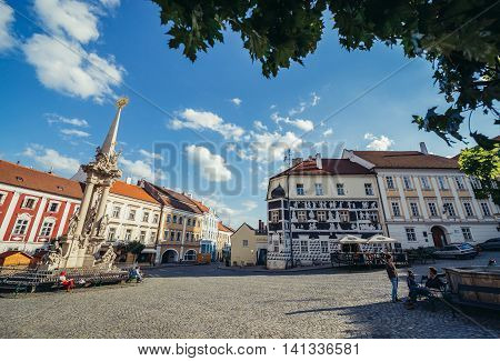 Mikulov Czech Republic - May 17 2015. Main square on the Old Town of small Mikulov city in South Moravian Region. View with Holy Trinity Statue on left side