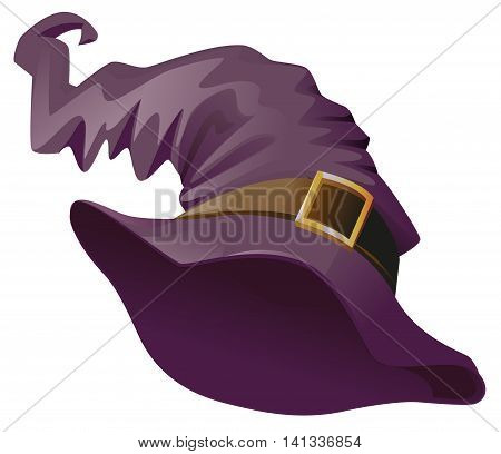 Witches hat. Accessory for Halloween masquerade. Isolated on white vector cartoon illustration