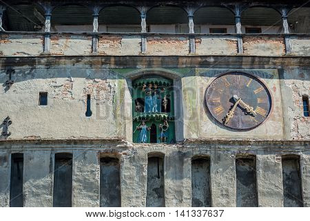 Details of Clock Tower in Sighisoara town in Romania