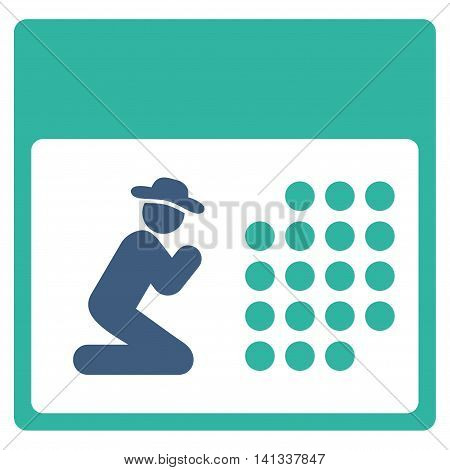 Pray Syllabus vector icon. Style is bicolor flat symbol, cobalt and cyan colors, rounded angles, white background.