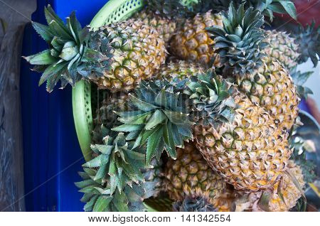 A lot of pineapple fruit in the market