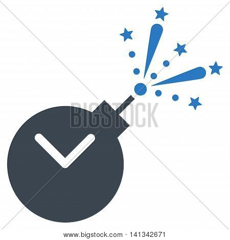Time Fireworks Charge vector icon. Style is bicolor flat symbol, smooth blue colors, rounded angles, white background.