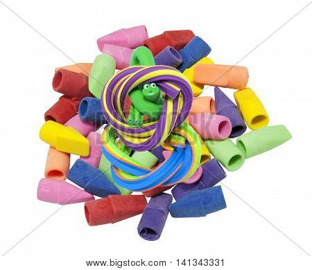 Colorful erasers in a variety of shapes