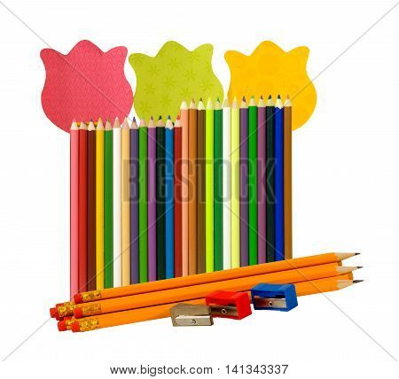 Colorful pencils and sharpeners with sticky notes