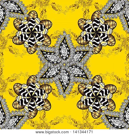 Seamless vintage pattern on yellow background with golden and white elements.