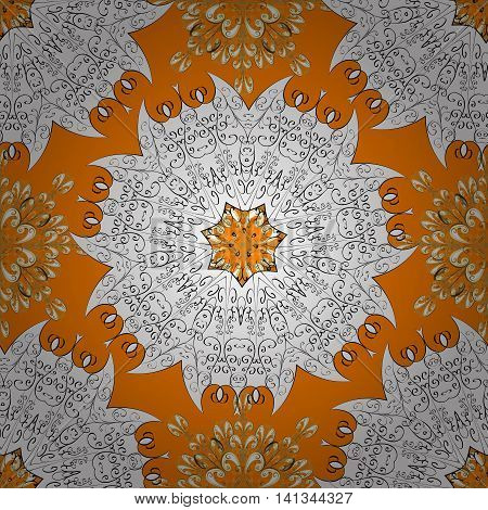 Seamless abstract pattern on orange yellow background with floral golden elements. Vector illustration. Pattern background.