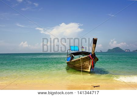 long tail boat at sea beach, Krabi,Thailand