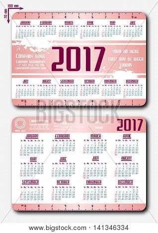 Two templates of pocket calendar with grid for 2017 and straightedge 10 cm and noted weekend days. First day of week - Sunday. Suitable for USA Japan Canada. Vector illustration