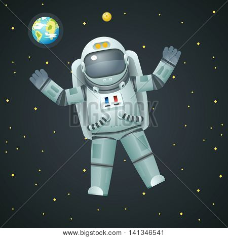 Cosmonaut Realistic Astronaut Spaceman Space Stars Earth Moon Background Icon Cartoon Design Template Vector Illustration