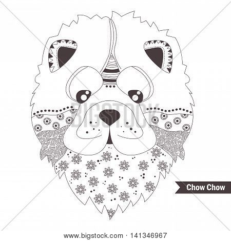 Chow chow dog. Coloring book for adult, antistress coloring pages. Hand drawn vector isolated illustration on white background. Henna mehendi, tattoo sketch