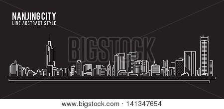 Cityscape Building Line art Vector Illustration design - Nanjing city