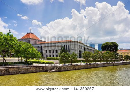 Parliament House Building At Boat Quay By The Singapore River