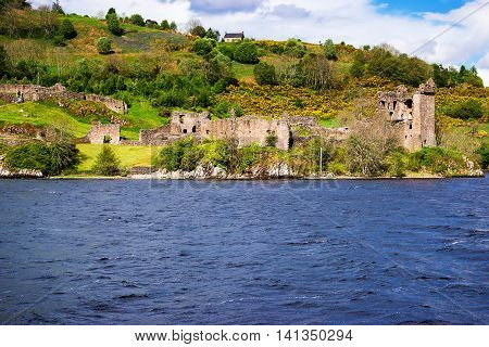 Remainings Of The Urquhart Castle In Loch Ness Scotland
