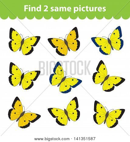 Children's educational game. Find two same pictures. Set of butterflies for the game find two same pictures. Vector illustration.