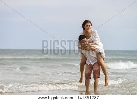 Young Couple Posing At China Beach In Danang In Vietnam