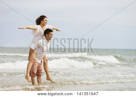 Young Couple Posing On The China Beach In Danang Vietnam