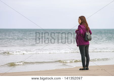 Young Girl In The China Beach In Danang In Vietnam