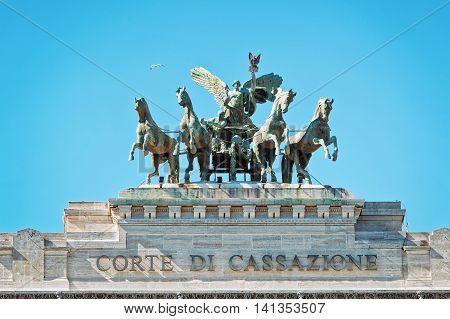 Quadriga Statue Of Supreme Court Of Cassation In Rome Italy