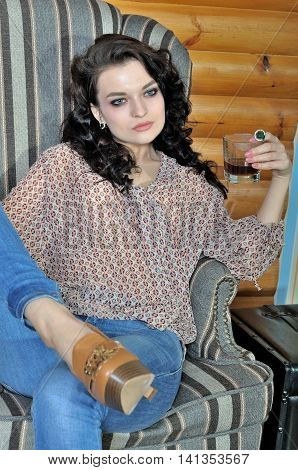 Girl Is Drinking Whiskey