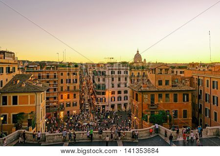 Tourists At Spanish Steps At Square Of Spain Rome Italy