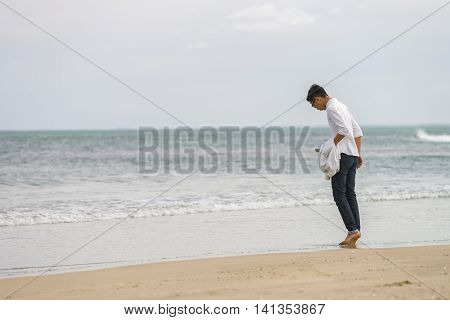Young Fellow At China Beach In Danang Of Vietnam