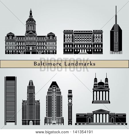 Baltimore landmarks and monuments isolated on blue background in editable vector file