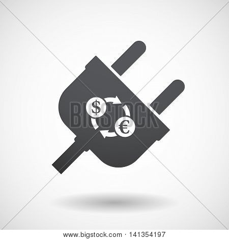 Isolated Male Plug With A Dollar Euro Exchange Sign