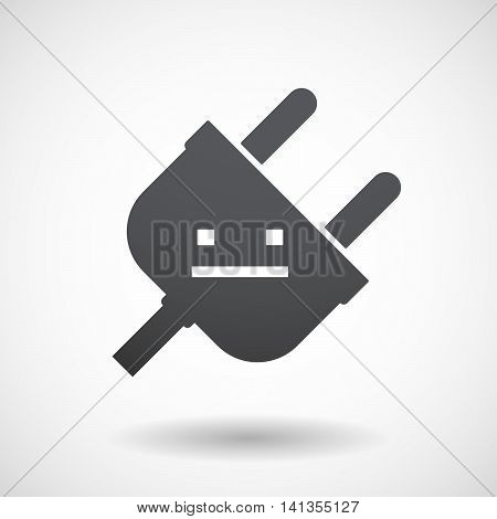 Isolated Male Plug With A Emotionless Text Face