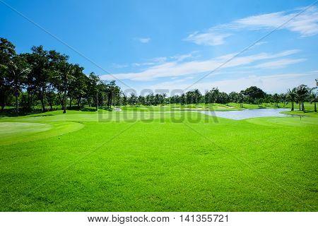 Beautiful landscape Wide green lawns golf courses.
