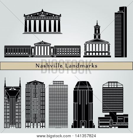 Nashville landmarks and monuments isolated on blue background in editable vector file