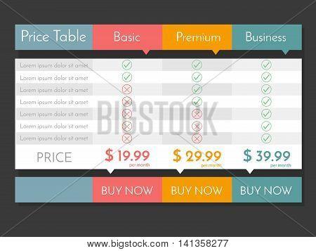Pricing table for websites and applications. Vector illustration