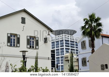 Mixed architecture buildings in Sarona district of Tel-Aviv Israel.