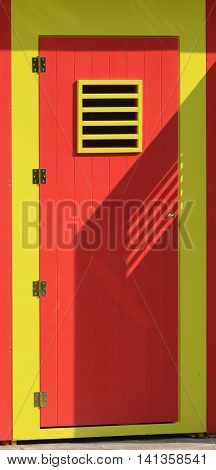 Changing red yellow modern cabin on beach