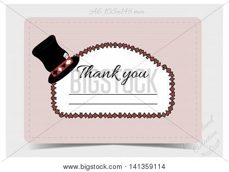 Thank you Note - Hatter Hat from Wonderland. Printable Vector Illustration for Graphic Projects Parties and the Internet.