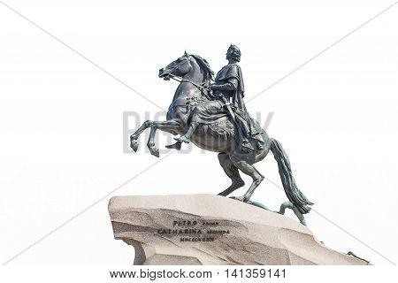 Bronze Horseman - Monument to Peter the Great it was created in 1782 one of symbols of St. Petersburg public property. Inscription- Catherine the Second to Peter the First 1782. Isolated on white