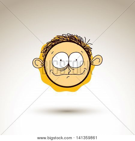 Vector artistic colorful drawing of happy person face communication and social network design element isolated on white.