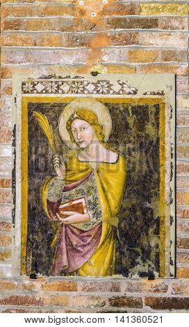 Fresco In Martyrium Church Of Basilica Of Santo Stefano Of Bologna. Italy.