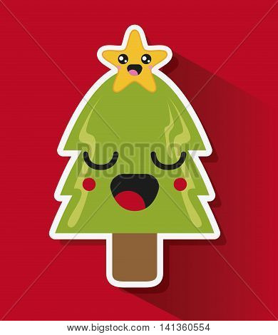 Merry Christmas and kawaii concept represented by pine tree cartoon icon. Colorfull and flat illustration