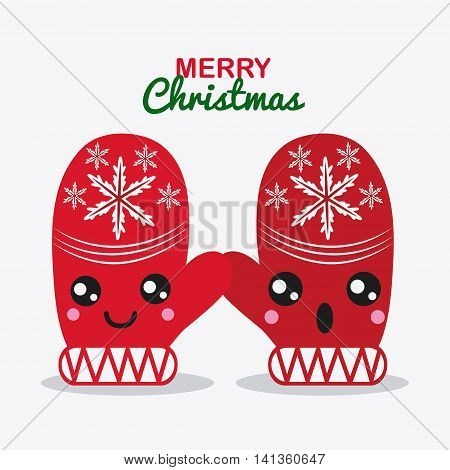 Merry Christmas and kawaii concept represented by red gloves cartoon icon. Colorfull and flat illustration