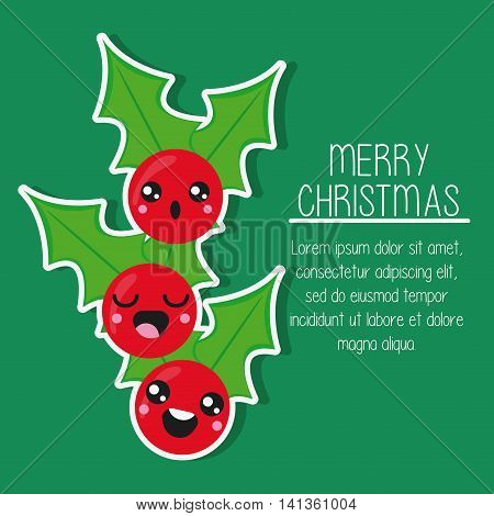 Merry Christmas and kawaii concept represented by leaves cartoon icon. Colorfull and flat illustration