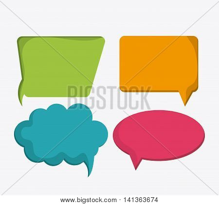 Social Network concept represented by communication bubbles. Colorfull and flat illustration