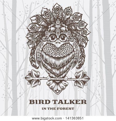 Vector Illustration Bird Talker on White background. Decorative graphics.