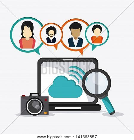 Social Network concept represented by icon set and avatar of woman and man design. Colorfull and flat illustration