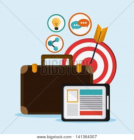 Social Network concept represented by suitcase, target, tablet and icon set. Colorfull and flat illustration