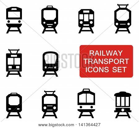set of train silhouette with red signboard